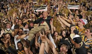 ESPN commentator Dick Vitale crowd surfs across Memorial Gymnasium before the VU-Kentucky game.