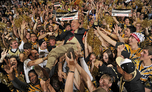 ESPN commentator Dick Vitale crowd surfs across Memorial Gymnasium before the VU-Kentucky game.
