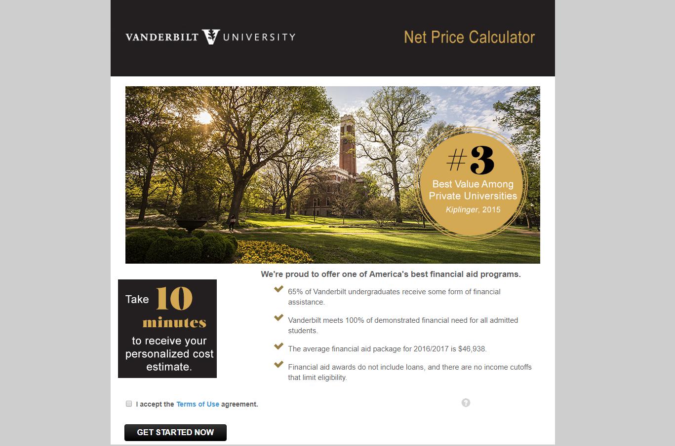 Vanderbilt's Net Price Calculator   The Vandy Admissions Blog