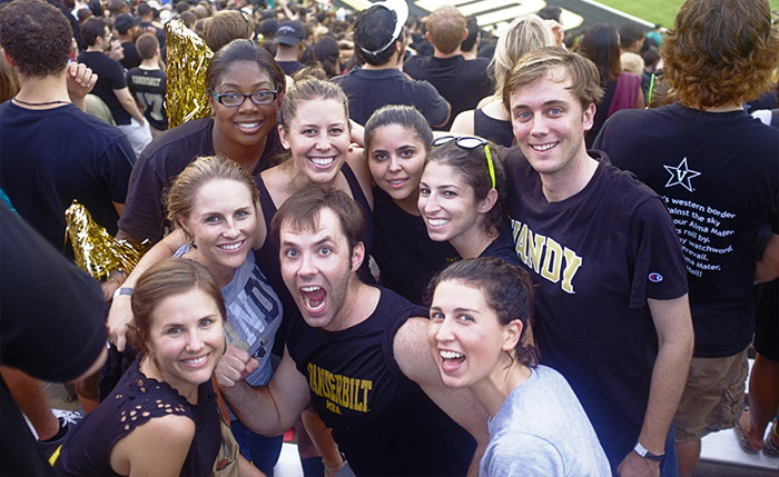 Vanderbilt Owen students show their school spirit as they cheer on the Commodores!