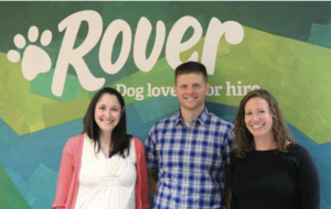 (Left to right) Rover Vice President Megan Teepe, MBA'11, Chief Operating Officer Brent Turner, MBA'99 and summer intern Sarah Eaton