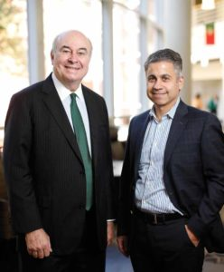 Read McNamara, MA'76, (left) assistant dean for corporate partnerships at Owen's Career Management Center and Sam Samad, senior vice president and treasurer at Cardinal Health and a member of Owen's Board of Visitors