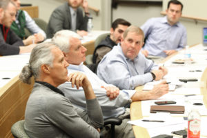 Sohr Grant panelists, including Jim Sohr, listen to a pitch