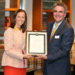 President and CEO of Nasdaq Adena Friedman, MBA'93, is presented the 2018 Owen Distinguished Alumna Award by Dean Eric Johnson at the Owen Circle Reception