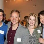 Left to right: Rachel Bradley, BS'04, MBA'08, and Scott Bradley; Jon Duncan, MBA'08; Alison Milton and Sam Milton, MBA'08; and Philip Rudolph, MBA'08, attend Friday's Owen Reunion Reception.