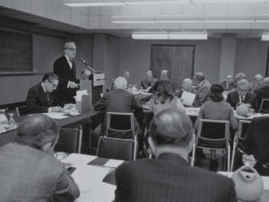 Provost Nicholas Hobbs presides over a meeting of the Vanderbilt Board of Trust, circa 1973.