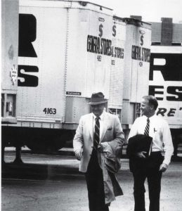 Cal Turner, Sr. and Cal Turner, Jr. prepare to board the Dollar General company helicopter