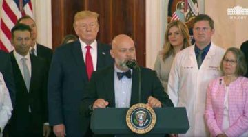 Larry Van Horn speaks at the White House about price transparency in health care.