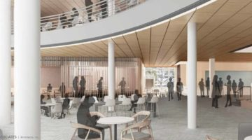 Rendering of interior addition and renovation to Management Hall