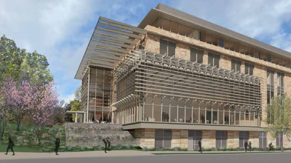 Rendering of exterior addition to Management Hall