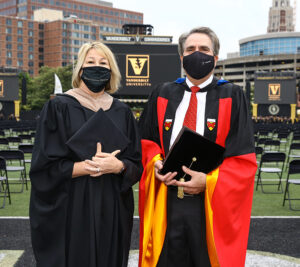 Dean Eric Johnson with Commencement Speaker Sarah Trahern, EMBA'04