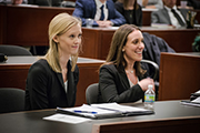 Zoe Beiner '18 (right) and Nell Henson '18 win 2017 Bass Berry & Sims Moot Court Competition