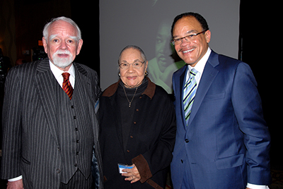 Judge John Nixon, left, Inez Crutchfield and Judge Waverly Crenshaw Jr. '81 (BA'78) at Dr. Martin Luther King Jr. tribute luncheon, hosted by Waller Lansden Dortch & Davis, at the DoubleTree by Hilton Hotel Nashville Downtown.