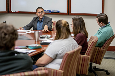 Clinical Law Professor G.S. Hans teaches his First Amendment Clinic in the Alexander Room at Vanderbilt Law School.