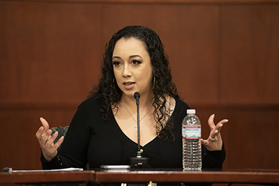 Cyntoia Brown-Long discusses her case at an event in Flynn Auditorium at Vanderbilt Law School.