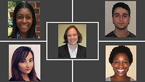 """A photo collage featuring an image of Housing Law Clinic Professor Jennifer Prusak (center), with her clinic students from Spring 2021: Wendy Barcelona '21, Joseph Kaminsky '21, Shannon Charlton '21, and Adora """"Olisa"""" Onyiuke '21."""