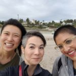 Laura (center) walking the beach after the Progressive Asian American Christians conference with Ophelia Hu Kinney (right), of the Reconciling Ministries Project, and the Reverend Tuhina Rasche (left), Minister of Small Groups at University AME Zion Church