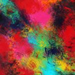 abstract paining of reds, blues, greens, yellows.
