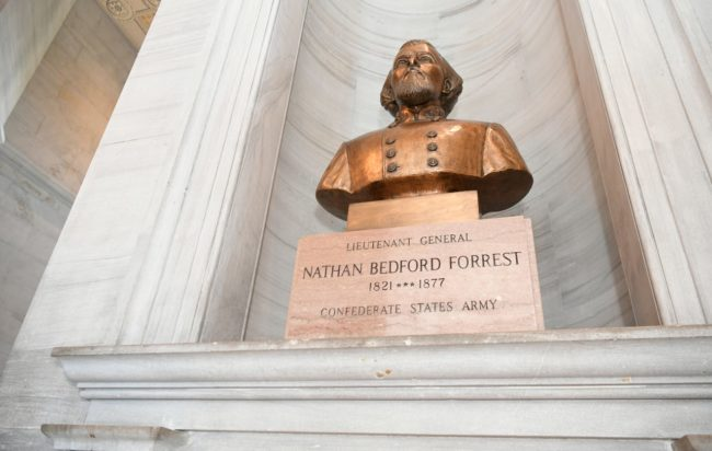 Bust of Nathan Bedford Forrest on display in the Tennessee State Capitol. Shelley Mays/The Tennessean