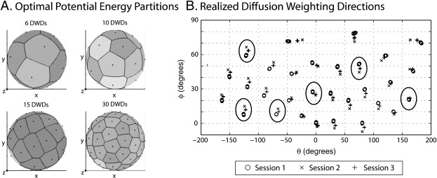 Minimum potential energy (PE) partitions of the Jones30 DW scheme. The optimal PE partitions (left) are evenly distributed as indicated by the shading which is proportional to the area of the spherical Voronoi tessellations of the DW directions. The realized directions are distinct (right) from the specified ones (left) because the gradient tables are corrected for subject motion. The right panel shows 30 clusters, where each cluster represents a specified DW direction and consists of three sub-clusters which represent realized DW directions from each session. The separation of the sub-clusters shows the inter-session effects, while the distribution of the symbols shows the intra-session effects. Large ovals indicate the subset of the Jones30 that was used to construct the PE6 partition.