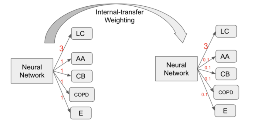 Example of Internal-transfer Weighting (ITW) of multi-task learning. The LC, AA, CB, COPD, E represent the tasks of lung cancer, adult asthma, chronic bronchitis, chronic obstructive pulmonary disease and emphysema, respectively. The red number is the loss weight for the task. Note that we apply PFLP on top of the displayed weights.