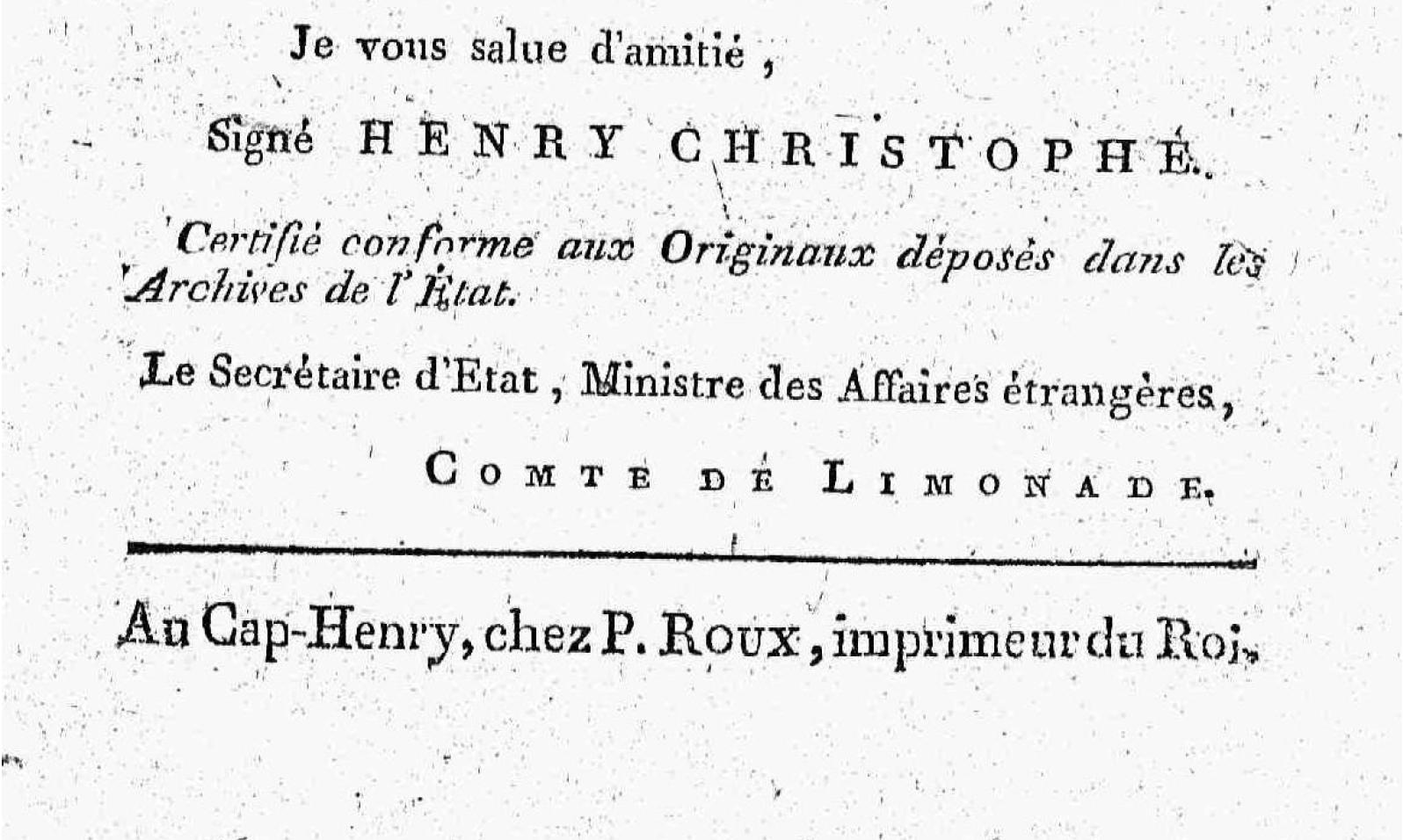 """Publication info from the back matter of Christophe's """"Manifeste du Roi"""" (1814)"""