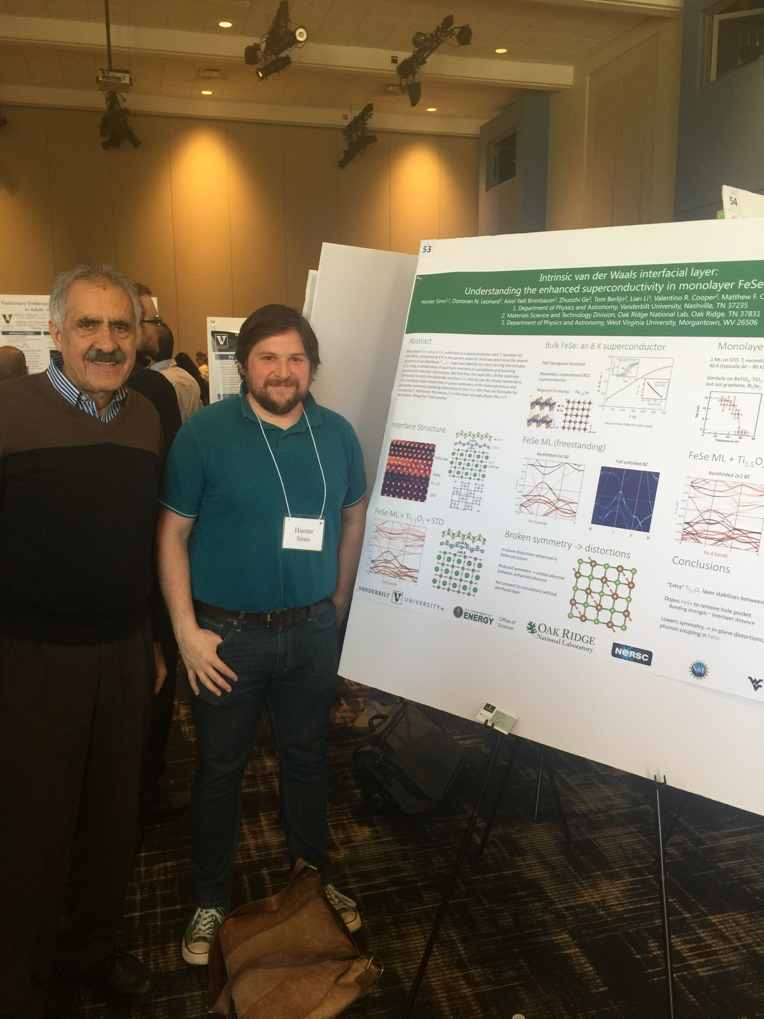 Vanderbilt Postdoctoral Association 2018 Symposium: Dr. Hunter Sims and Professor Sokrates Pantelides.