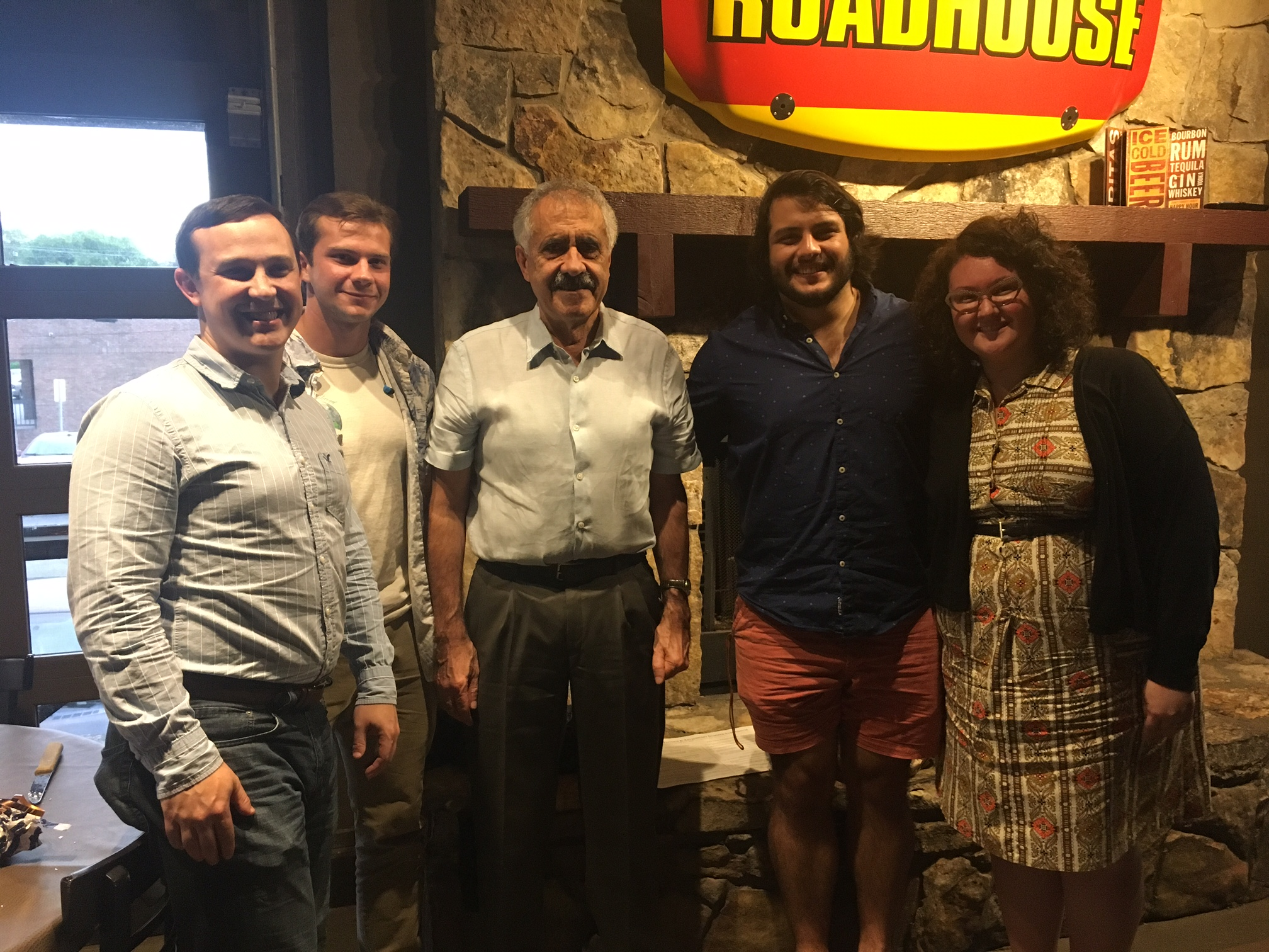 Summer 2017 Undergraduate Student Intern Farewell Dinner. [From left: Andy O'Hara, Tyler Summers, Prof. Pantelides, Christian Ornelas, Ashley Brammer]