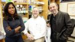 4-24-2019  - Photos of Hassane Mchaourab, PhD (in cool leather jacket), Jonathan Sheehan, PhD, and Brinda Selvaraj, Program in the Molecular Basis of Genetic Diseases in Light Hall (Vanderbilt University / Steve Green)