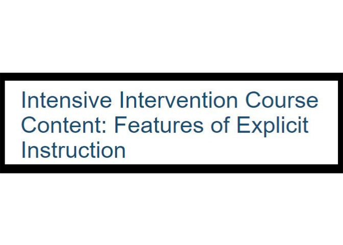 Title Image for Intensive Intervention Course for Features of Explicit Instruction