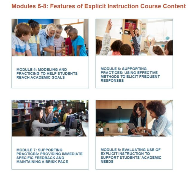 Image of the modules for Explicit Instruction. Additional information on the modules is listed below the image.