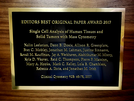 2017 2017 Best paper award plaque Cytometry B Editor's Best 2016-2017 Award Plaque