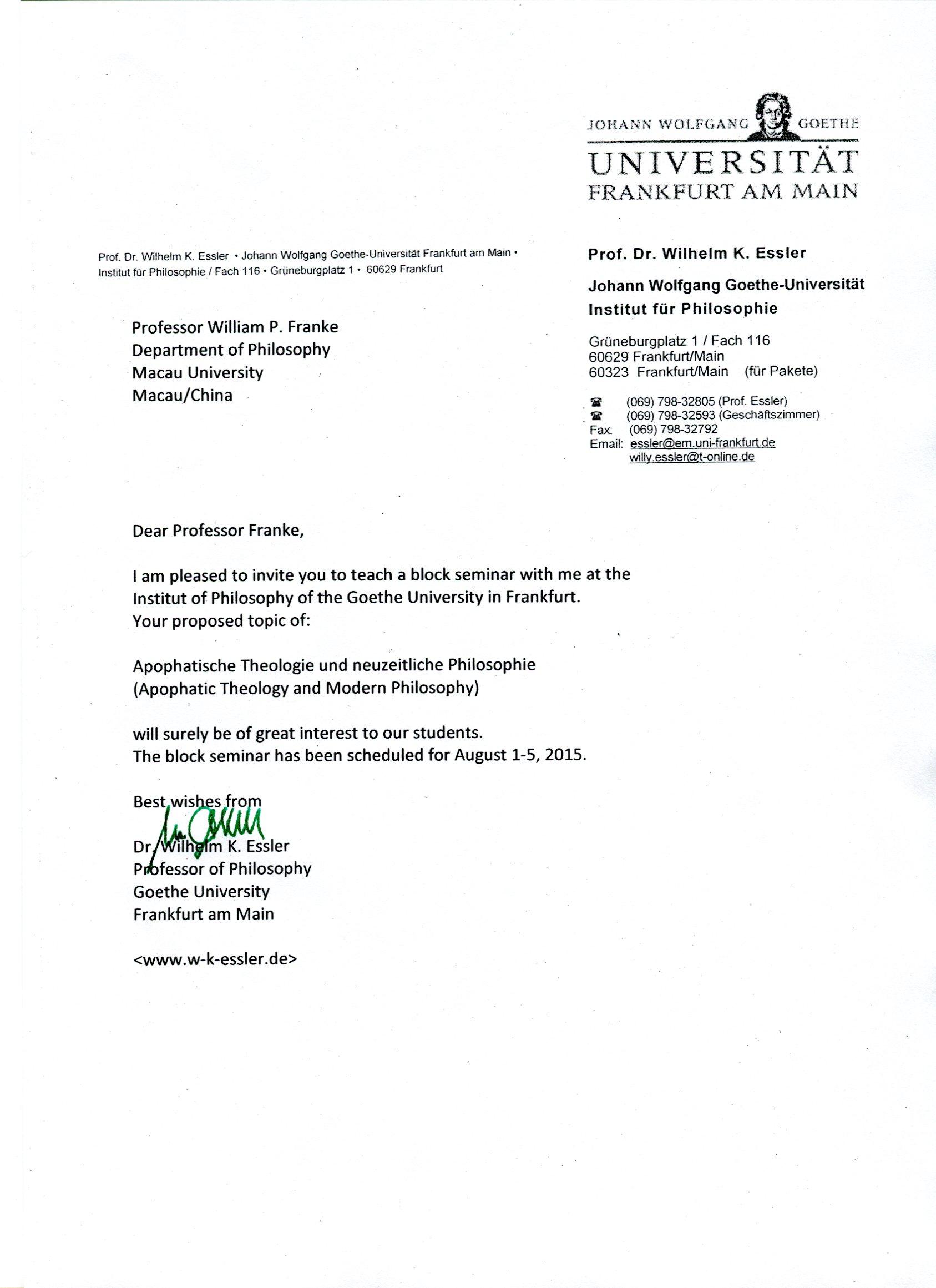 Invitation - Frankfurt seminar