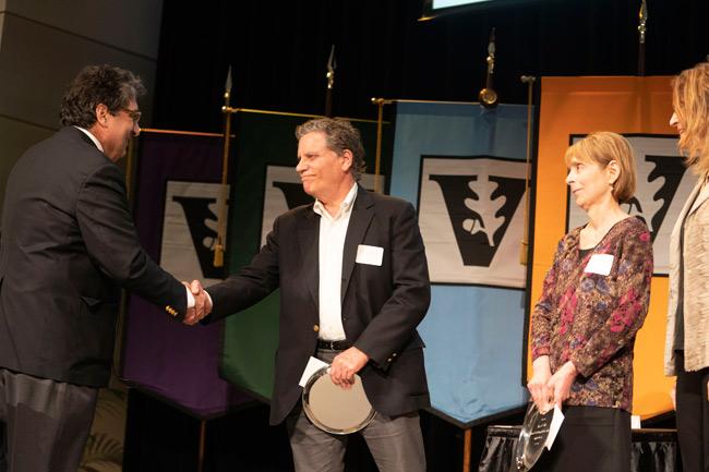 Chancellor Nicholas S. Zeppos, Doug Fuchs, Lynn Fuchs, Vicki Green (Joe Howell/Vanderbilt)