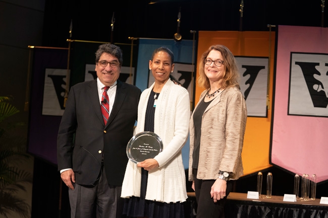 Chancellor Nicholas S. Zeppos, Joseph A. Johnson, Jr. Distinguished Leadership Professor Award recipient Charlene Dewey and Faculty Senate chair Vicki Greene