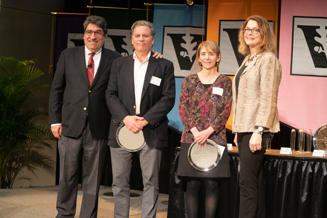 Chancellor Nicholas S. Zeppos, Alexander Heard Distinguished Service Professor Award recipients Doug Fuchs and Lynn Fuchs, and Faculty Senate chair Vicki Greene