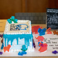 "A white cake with blue icing and the quote ""He called me blue roses"" written in icing."