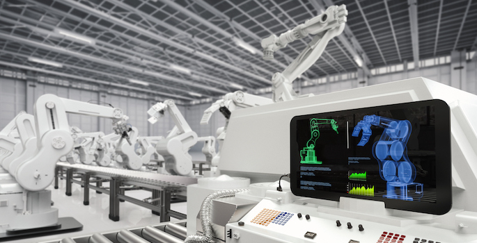 automotive assembly line with 3d rendering monitor screen with robotic arms