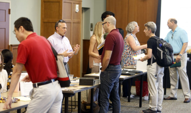 faculty learn about internal funding opportunities at an event sponsored by the Office of the Provost