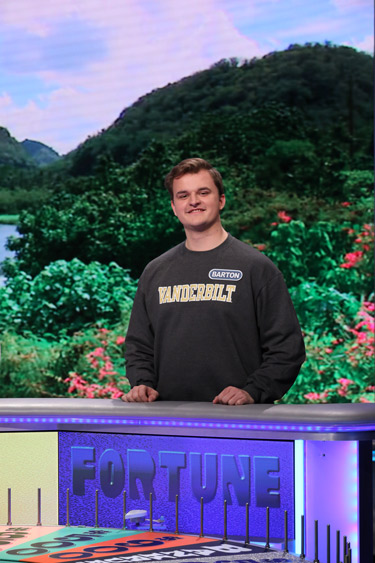 "College of Arts and Science sophomore Barton Christmas on ""Wheel of Fortune."" (photo by Carol Kaelson)"