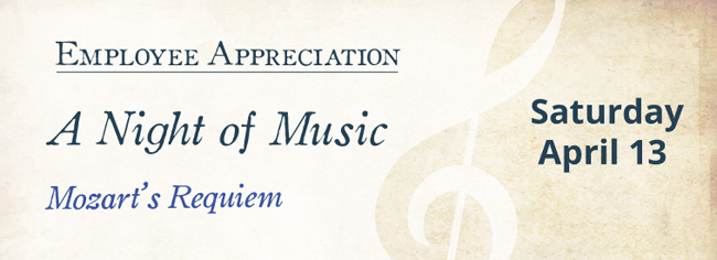 "Vanderbilt University Employee Appreciation presents ""A Night of Music: Mozart's Requiem"" on Saturday, April 13, featuring the Vanderbilt Chorale, Vanderbilt Symphonic Choir and Vanderbilt University Orchestra under the direction of Tucker Biddlecombe, associate professor of choral studies."
