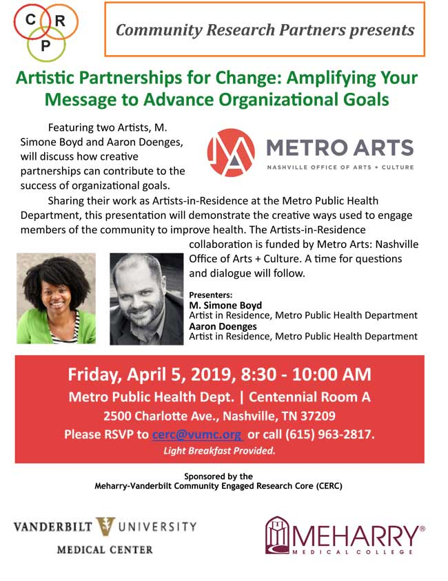 """Artistic Partnerships for Change: Amplifying Your Message to Advance Organizational Goals"" is scheduled for Friday, April 5, from 8:30 to 10 a.m."