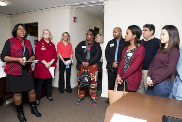 Renewal House CEO Pamela Sessions speaking with Chancellor's Charter participants. (Susan Urmy/Vanderbilt)