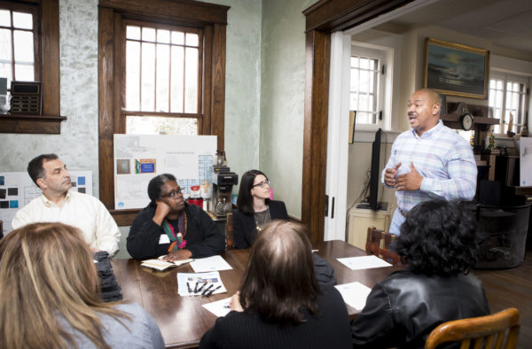 Dismas House CEO Gerald Brown speaking with Chancellor's Charter participants. (Susan Urmy/Vanderbilt)