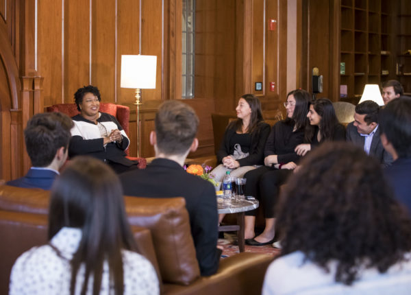 Stacey Abrams visits with students from Vanderbilt College Democrats and Vanderbilt Student Government (Vanderbilt/Susan Urmy)