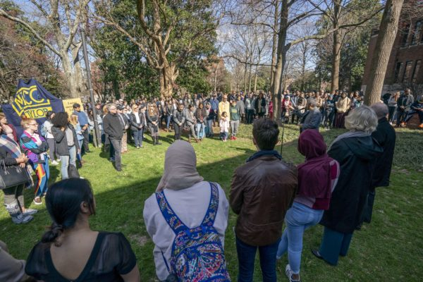 Members of the Vanderbilt community gather outside of Rand Hall to honor victims of the terror attacks at Al Noor and Linwood mosques.