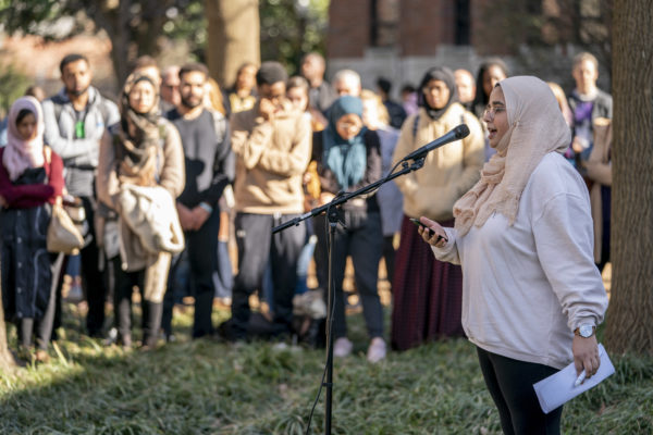 Student Shun Ahmed reads a poem she wrote in reaction to the New Zealand terror attacks at two mosques.