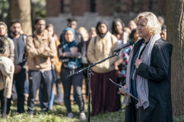 Provost and Vice Chancellor for Academic Affairs Susan R. Wente speaks at Monday's vigil.