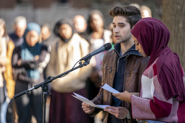 Tariq Issa, president of Vanderbilt Student Government, and Fayo Abadula, president of the Muslim Students Association, read the names of those killed on Friday in New Zealand.