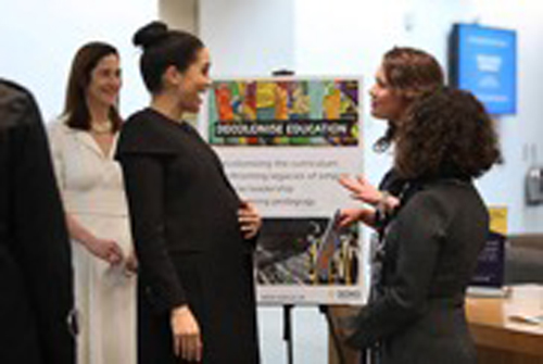In her capacity as a Marshall Scholar, Class of 2018 graduate Logan Brown (second from right) recently met with Meghan Markle, the duchess of Sussex. (submitted photo)